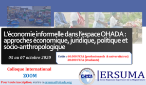 """International colloquium on  «The informal economy in OHADA space: economic, legal, political and socio-anthropological approaches"""". 1"""