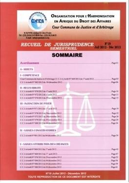 Recueil de Jurisprudence N°19