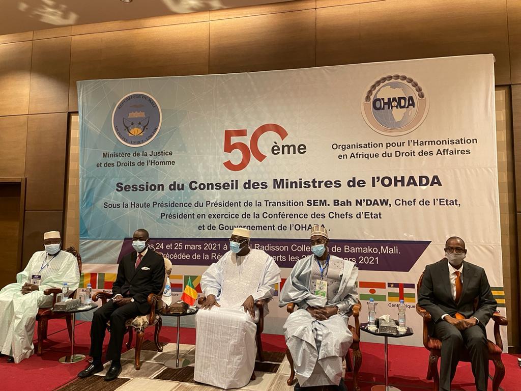Ouverture de la 50ème session du Conseil des Ministres de l'Organisation pour l'Harmonisation en Afrique du Droit des Affaires (OHADA) Bamako (Mali) 24 et 25 mars 2021