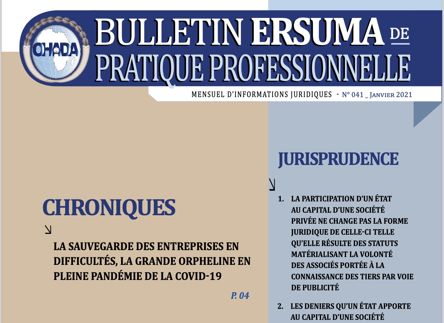 OHADA / RELEASE OF THE 41st ISSUE OF ERSUMA BULLETIN OF PROFESSIONAL PRACTICE